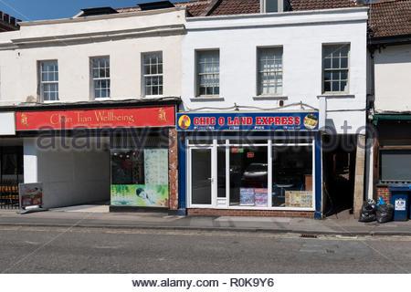 Takeaway restaurants, Roundstone Street, Trowbridge, Wiltshire, England, UK - Stock Photo