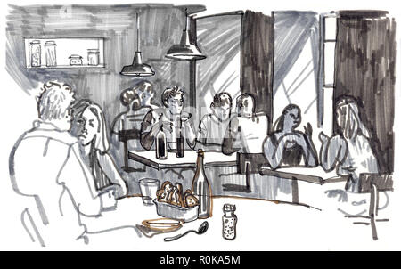 People eating and talking in a cozy restaurant by the window. Hand drawn sketchy style marker pen illustration. - Stock Photo