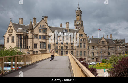 View of Bradford's victorian City Hall taken from a footbridge over Hall Ings. The bridge was removed in 2009 as part of the City Park regeneration. - Stock Photo