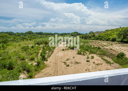Dried up river bed viewed from a bridge, Guerrero State, Mexico - Stock Photo