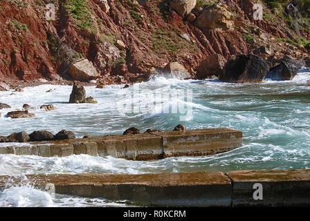 SEA AND MOUNTAIN  IN VALLDEMOSA HARBOUR, MAJORCA, SPAIN - Stock Photo