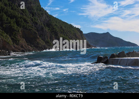 SEA AND MOUNTAIN  IN VALLDEMOSA HARBOUR, MAJORCA, SPAIN - Stock Photo