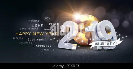 Happy New Year greetings, best wishes and 2019 date number, composed with planet earth colored in gold, on a festive black background, with glitters a - Stock Photo