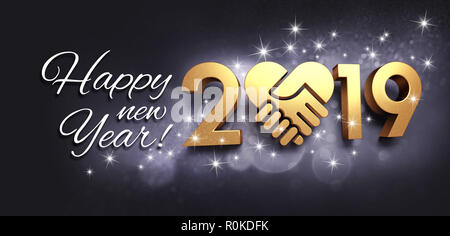 Greetings and New Year date 2019 cololored in gold, composed with a golden heart, glittering on a black background - 3D illustration - Stock Photo