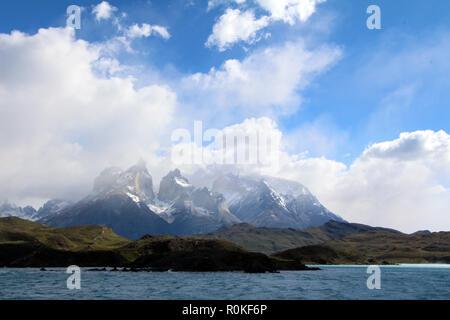 Los Cuernos over Lago Sarmiento, Torres del Paine National Park, Chile - Stock Photo