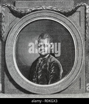 Gotthold Ephraim Lessing (1729-1781). German writer and drramatist. Enlightenment era. Engraving of Germania, 1882. - Stock Photo