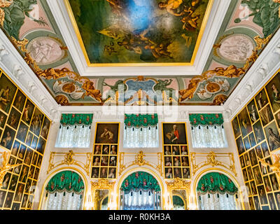 18 September 2018: St Petersburg, Russia - The Portrait Hall in Peterhof Grand Palace. - Stock Photo