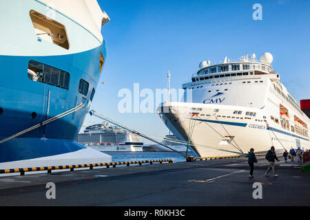 September 19 2018: St Petersburg, Russia - Cruise ships moored at Marine Facade, the passenger terminal for St Petersburg. - Stock Photo