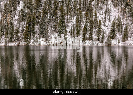 Abstract natura background with green spruce trees and white snow on the slope of the mountain and their reflections in the water of the lake - Stock Photo