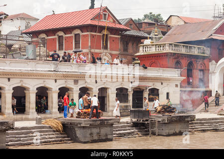 KATHMANDU, NEPAL - AUG 15: Worshipers gather at Pashupatinath Temple in Kathmandu on 15 Aug 2018. - Stock Photo