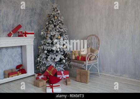 winter Christmas tree new year holiday gifts - Stock Photo