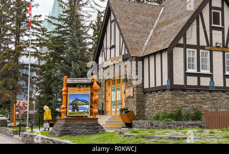 BANFF, AB, CANADA - JUNE 2018: Banff Visitor Centre in Banff town centre. - Stock Photo