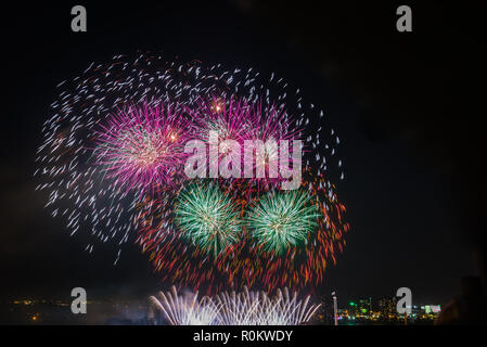 Explosion of colorful firecrackers in night sky - Stock Photo