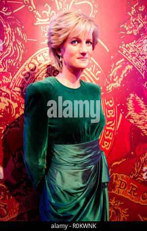 Wax figure of Princess Diana at world renowned tourist attraction Madame Tussauds Wax museum in London, United Kingdom. - Stock Photo