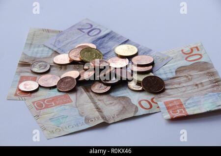 Stockholm, Sweden - 1 september 2018. Swedish currency, new bills and coins