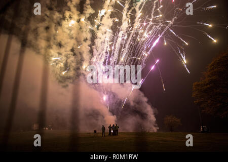 People seen looking at the fireworks while gathering to celebrate the Bonfire and fireworkdisplay in Roundhay Park, Leeds. - Stock Photo