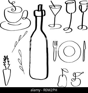 A set of vector food and drink related icons, hand drawn line art, abstract design elements for a restaurant menu and a wine list - Stock Photo