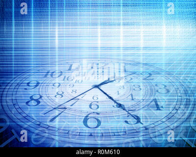 conceptual technology and time image of binary code with clock and abstract lights - Stock Photo