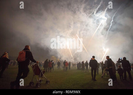 Leeds, UK. 5th Nov, 2018. People seen looking at the fireworks while gathering to celebrate the Bonfire and fireworkdisplay in Roundhay Park, Leeds. Credit: Rahman Hassani/SOPA Images/ZUMA Wire/Alamy Live News - Stock Photo