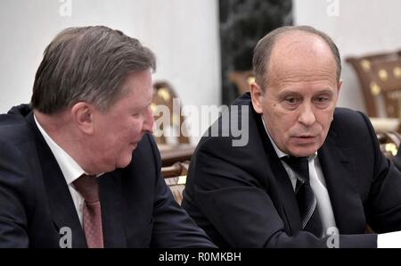 Moscow, Russia. 6th November, 2018. Russian Special Presidential Representative for Environmental Protection, Ecology and Transport Sergei Ivanov, left, and Director of the Federal Security Service Alexander Bortnikov prior to a meeting with permanent members of the Security Council chaired by President Vladimir Putin at the Kremlin November 6, 2018 in Moscow, Russia. Credit: Planetpix/Alamy Live News - Stock Photo