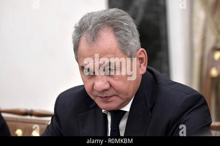 Moscow, Russia. 6th November, 2018. Russian Defence Minister Sergei Shoigu prior to a meeting with permanent members of the Security Council chaired by President Vladimir Putin at the Kremlin November 6, 2018 in Moscow, Russia. Credit: Planetpix/Alamy Live News - Stock Photo