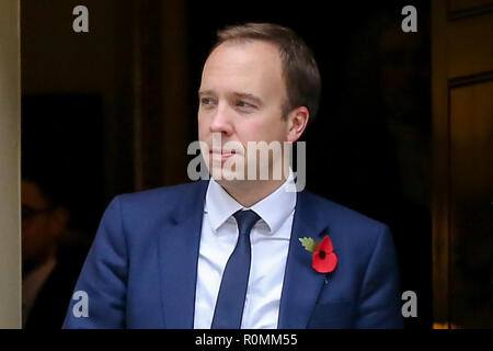 London, UK. 6th Nov, 2018. Matthew Hancock, Secretary of State for Health and Social care seen departing from No 10 Downing Street after attending the weekly Cabinet Meeting. Credit: Dinendra Haria/SOPA Images/ZUMA Wire/Alamy Live News - Stock Photo