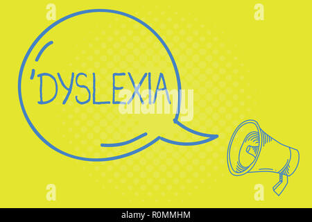 Word writing text Dyslexia. Business concept for Disorders that involve difficulty in learning to read and improve.