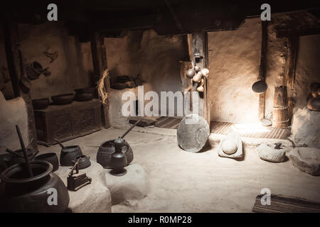 Antique kitchen ware in Baltitt fort. Hunza valley, Gilgit Baltistan, Pakistan. - Stock Photo