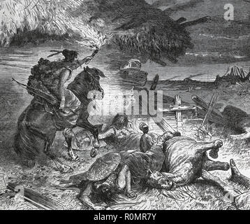 Hungarian invasion of Europe. 9th-10th century. Engraving of Germani, 1882. - Stock Photo
