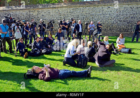 The Media waiting patiently on College Green, Westminster for a delayed press conference. London, England, UK. - Stock Photo