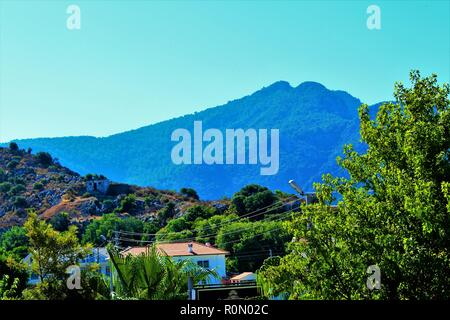 Dalyan, Turkey - July 7th 2018: Scenic morning view from the balcony of an apartment within the 'Ozalp Apart C' hotel. - Stock Photo