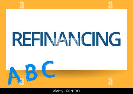 Text sign showing Refinancing. Conceptual photo Finance again with new loans at a lower rate of interest. - Stock Photo