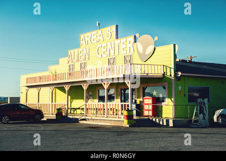 Amargosa Valley, Nevada, United States -  October 26, 2017: Area 51 Alien Center shop and gas station - Stock Photo