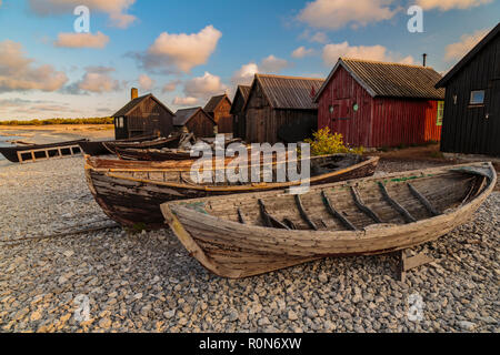 Helgumannen old fishing camp with rowing boats lying on the beach at sunset in warm evening light, Gotland, Sweden - Stock Photo