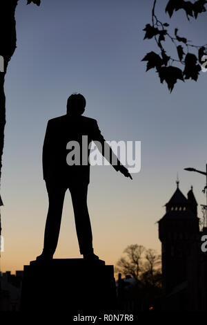 Statue in Cardiff of Aneurin Bevan, founder / creator of the UK's National Health Service - Stock Photo