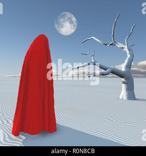 Figure in red hijab stands in surreal white desert. Planet Zen - Stock Photo