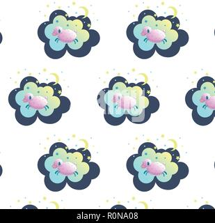 Cute sleeping sheep vector illustration. Seamless about sleep, dream or relax, baby sleep, pattern for bed linen. - Stock Photo