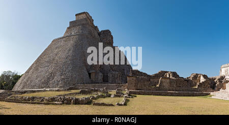 ruins of the ancient Mayan city Uxmal. UNESCO World Heritage Site, Yucatan, Mexico - Stock Photo