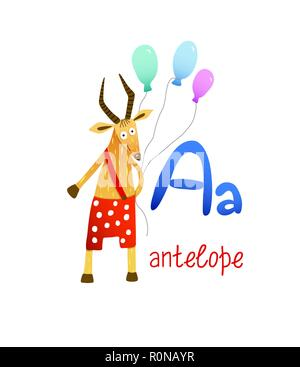 Cute children zoo alphabet A letter tracing of Antelope for kids learning English vocabulary. Vector illustration