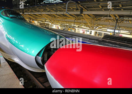 TOKYO, JAPAN -22 OCT 2018- A green Series E5 Shinkansen high-speed bullet train operated by JR East at the Tokyo station. - Stock Photo