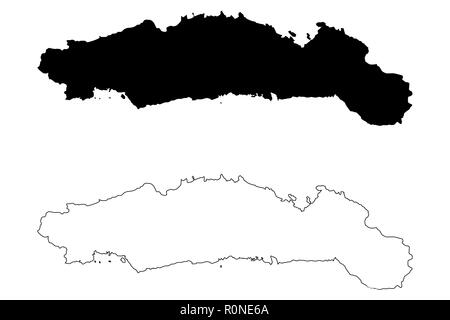 Gorontalo (Subdivisions of Indonesia, Provinces of Indonesia) map vector illustration, scribble sketch Hulontalo map - Stock Photo