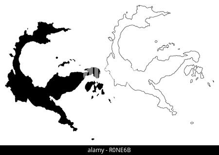 Central Sulawesi (Subdivisions of Indonesia, Provinces of Indonesia) map vector illustration, scribble sketch Sulawesi Tengah map - Stock Photo