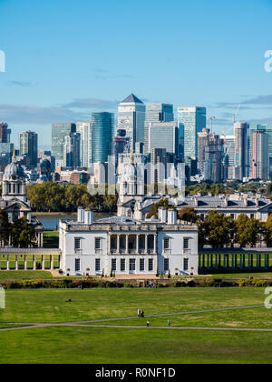 View from Royal Observatory, of Canary Wharf, London Docklands, with Queens House, and Old Royal Navel College, Greenwich, London, England. - Stock Photo