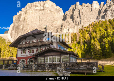 Refuge Monti Pallidi. The refuge was built before construction of the great Dolomites road, at the foot of Piz Ciavazes and Sass Pordoi at Pian Schiav - Stock Photo