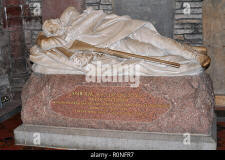 MEMORIAL TO DR. JOHN RAE, ARCTIC EXPLORER. ST.MAGNUS CATHEDRAL, KIRKWALL, ORKNEY ISLANDS. - Stock Photo
