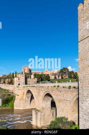 The historic old town, River Tagus and Puente San Martin, Toledo, Castilla-La Mancha, Spain - Stock Photo