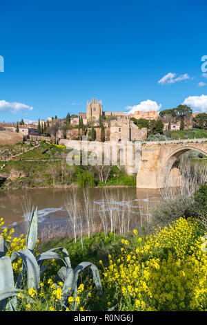 Toledo, Spain. The historic old town, River Tagus and Puente San Martin, Toledo, Castilla-La Mancha, Spain - Stock Photo