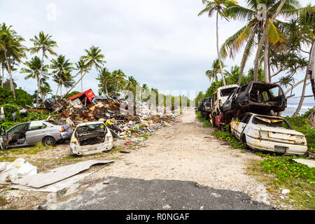 Garbage dump, landfill at Funafuti atoll, Tuvalu, Polynesia, Oceania, South Pacific Ocean. Ecological and garbage management problems of island nation - Stock Photo