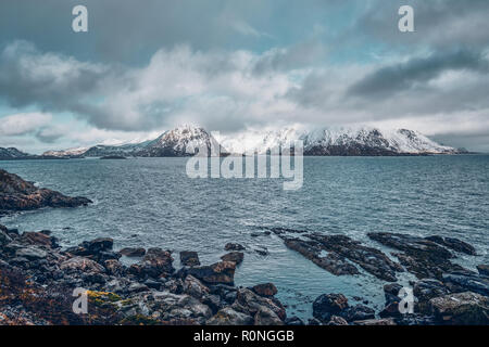 Norwegian fjord and mountains in winter. Lofoten islands, Norway - Stock Photo