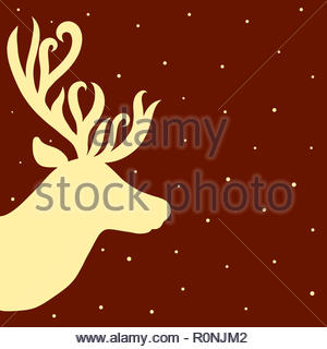The head of a beautiful deer with elegant horns, snow or starry sky - Stock Photo